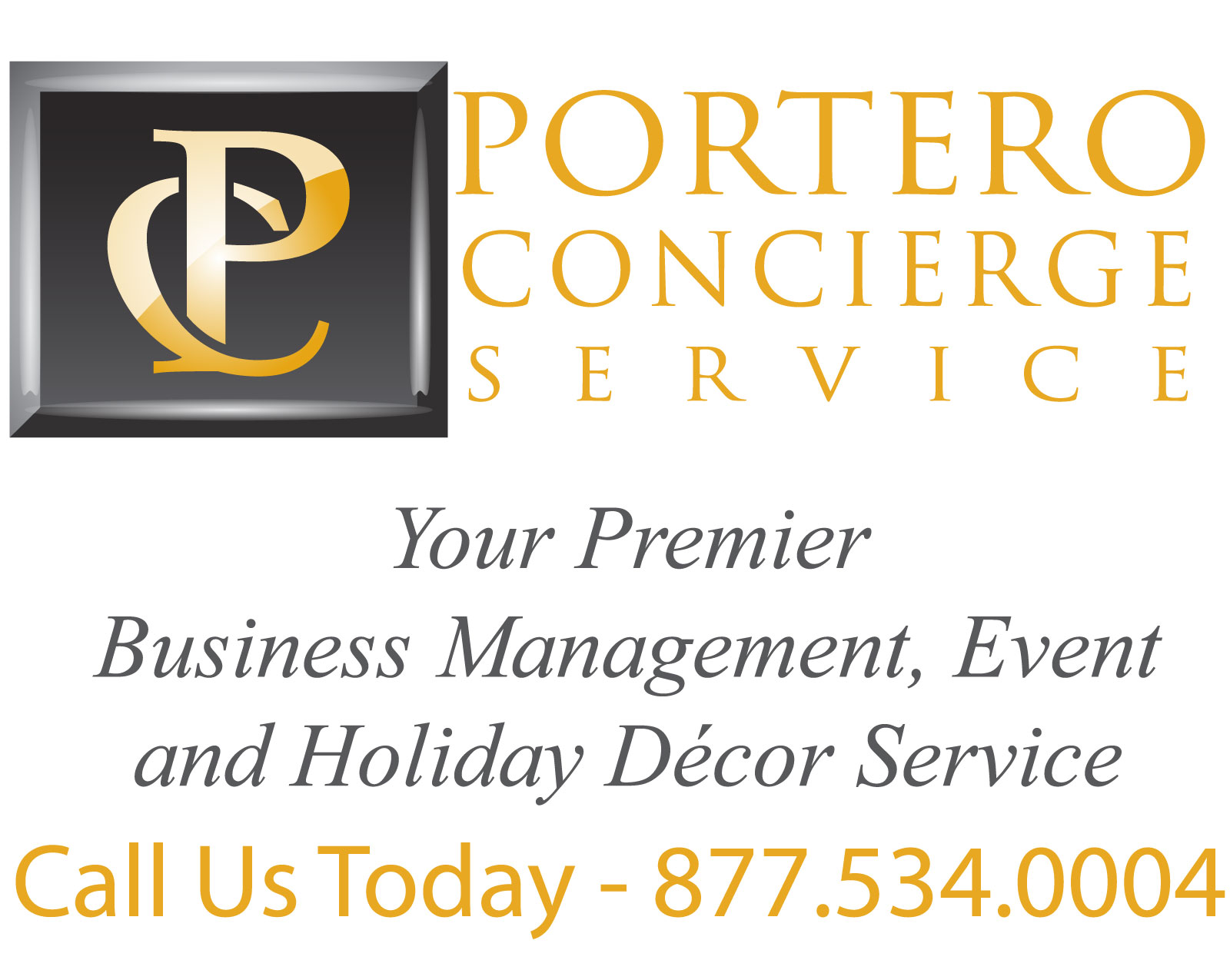 Portero Concierge Services Logo and contact information